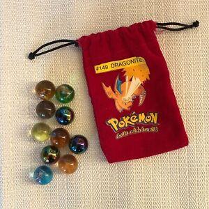 Lot of 9 Pokemon Collectible Marbles w/ Drawstring Bag #149 DRAGONITE - 3 Holos