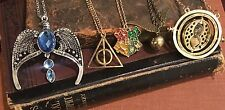Harry Potter Necklace Set of 5: Diadem, Time Turner, Snitch, Hallows, Crest