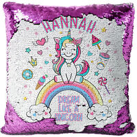 Personalised Unicorn Sequin Cushion Magic Reveal Cute Girls Christmas Gift MC014