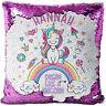 Personalised UNICORN Sequin Cushion Cover Magic Reveal Glitter Pillow MC014