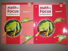 Math in Focus, Grade 2, Reteach Books for Both 2A & 2B - Set of 2 Books
