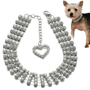Bling Rhinestone Dog Necklace Collar Diamante & Pendant for Small Dogs Chihuahua
