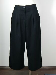 Cos wool elastane black baggy wide leg cropped trousers size 40