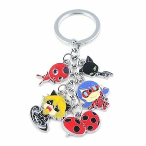 PORTE CLE CLEF KEYRING KEYCHAIN  METAL MIRACULOUS LADYBUG CHAT NOIR TIKKI PLAGG