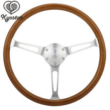 15inch Wooden Grain Silver Brushed Spoke Steering Wheel classic Wood + Horn Kit