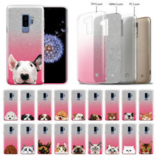 "For Samsung Galaxy S9 Plus/ S9+ 6.2"" Dog Cat Two Tone Glitter Tpu Cover Case"