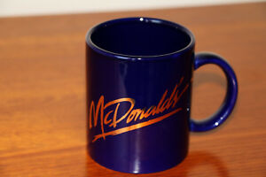 McDonalds collectable staff mug gold and blue never used hard to find
