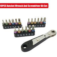 19pc Ratchet Screwdriver Stubby Handle and Bit Set Tool kit Mini Size red black