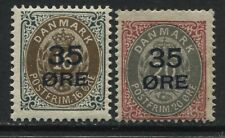 Denmark 1912 35 ore overprinted on  16 and 20 ore mint o.g. hinged