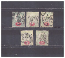 New listing Great Britain Scott #130 Perfins used collection of 5