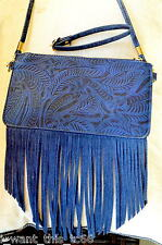 FREE PEOPLE Blue Etched Faux Leather Boho Fringe X-body Clutch Handbag small