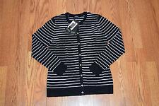 NWT Womens JONES NEW YORK Black White Striped Cardigan Sweater Size L Large