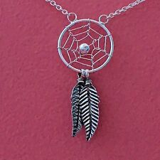 925 Sterling Silver  Dream Catcher Feather Thread Pendant Necklace *NEW*