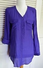 CHICO'S - PURPLE RAYON BLEND 3/4 OR LONG SLEEVE BUTTON DOWN SHIRT - CHICO'S 0
