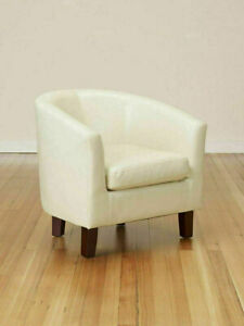 Bonded Leather Club Chair Backed Armchair Living Guest Room Sofa Seat Chairs New