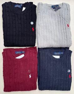 Men's Polo Ralph Lauren Crew-Neck Cable Knit Cotton Jumpers Long Sleeve