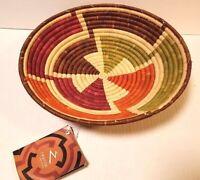 Handcrafted Weaved Basket Bowl  Woven Bowl Sisal /& Sweetgrass Basket Elf Green Size 12inches Designer Green Color Fruit Basket Bowl Round Basket African Gift Shop  Rwanda Basket Bowl