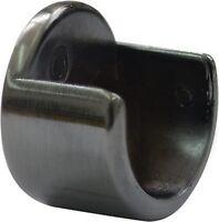 2 Black Gun Metal Recess Pole Brackets 28mm Curtain Wardrobe Rail Supports