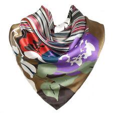 Foulard 90 X 90 cm 100% Pure Soie Multicolore - Motif Floral Moderne 2a0d3fe5392
