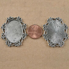 4pcs tibetan Silver Tone Lacework Oval Picture Frame H3998