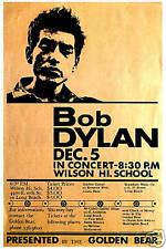 1960's Folk-Rock: Bob Dylan at Wilson High Long Beach Concert Poster 1964