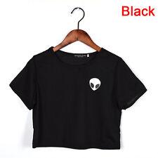 Women Summer Short Sleeve Tee Blouse Casual Crop Tops Alien Printing T-Shirt F