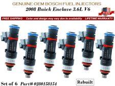 6 Fuel Injectors OEM BOSCH for 2008 Buick Enclave 3.6L V6  #0280158154