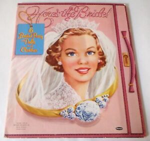Here's the Bride 6 Bridal Party Dolls and Clothes Paper Doll Book 1953 Uncut