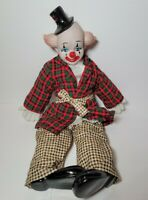 BRINN Collectible Doll Clown In Pajamas Porcelain Face, Hands Shoes
