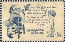 Christmas - Santa Claus & Little Boy - Blue Tint c1910 Postcard