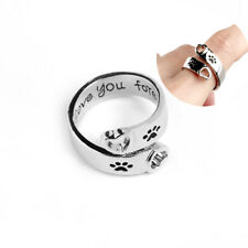 Fashion Heart Dog Pet Paw Cute Love You Forever Adjustable Ring Girls Women Gift