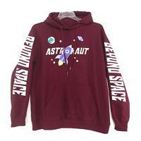 ASTRONAUT Beyond Space Graphic Sweatshirt Hoodie Mens Womens L Maroon Red STEM
