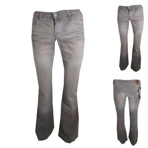 Jeans a zampa di elefante da donna vita bassa pantaloni bootcut indian rose w25