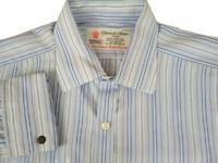 Turnbull & Asser Men's Dress Shirt 17/43 French Cuff Sea Island Blue Striped