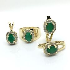 14k Yellow Gold Natural Emerald And Diamond Earrings Ring And Pendant Set