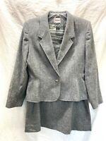 Vintage Country Suburbans Womens 2 PC Gray Suit Jacket Blazer A-line Skirt SZ 14
