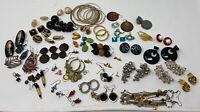 Huge Lot of Hoop Half Hoops Studs Dangle Pierced earrings Vintage  Estate