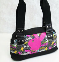 PLAYBOY Bunny Handbag Black Shoulder Satchel Purse Zipper Pink Orange Green Bag!