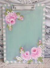 Cottage Shabby Chic Teal Office Clipboard Hand Painted Pink Roses HP