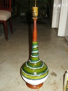 Large Danish Modern, MCM, Mid-Century Drip Glaze Ceramic & Teak Lamp