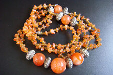 VINTAGE RARE NATURAL CARNELIAN BEADS BEAUTIFUL DESIGN STYLE NECKLACE JEWELRY
