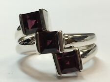 Garnet-Like Gem Stone Cocktail Ring Vintage Estate 925 Silver Ring Purple 5.5mm