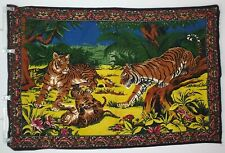 Velvet Tapestry Wall Hanging 4 Tiger Family Vibrant Tigers 38 X 56 in 70's Style