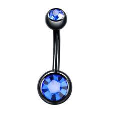 1PC Steel Navel Bar Black Belly Button Rings Piercing Double Gem Navel Piercing