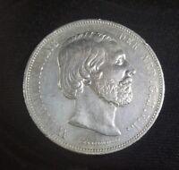 RARE 1872 NETHERLANDS KING WILEM 2 1/2 GULDEN SILVER CROWN #2