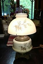 GONE WITH THE WIND VINTAGE FLORAL DISPLAY HURRICANE LAMP-Converted from Oil lamp
