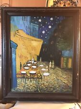 Vintage Original painting on canvas STARRY CAFE by Thomas,20x24,framed to 25x29