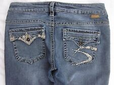 Silver Pioneer Size 28 x 33 Bootcut Distressed Women's Jeans Stretch Flap Pocket