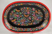 Wood Plate/Lacquer Ware Folk Art Mexico Collectible Award Winning Artisan Oval