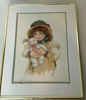 Cross Stitch Picture Little Girl Holding Bunny Gold Tone Frame Decor Easter